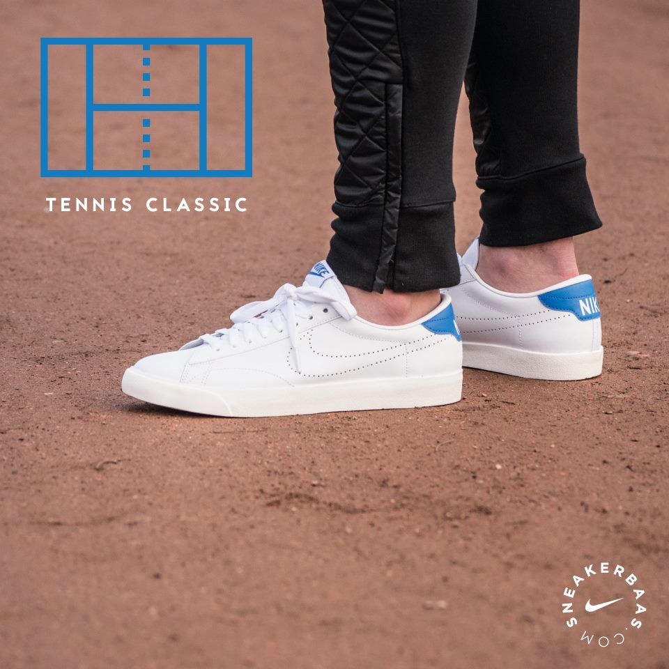 @nike #nike #tennisclassic #tennis #classic  Nike Tennis Classic - Nike is one for listening to their fan base. This Tennis Classic is made out of a smooth white leather with a perforated swoosh. A blue heel-tab and tongue-patch creates a mellow color accent.  Now online available | Priced at 89.99 | Men's sizes 39 - 47.5 |