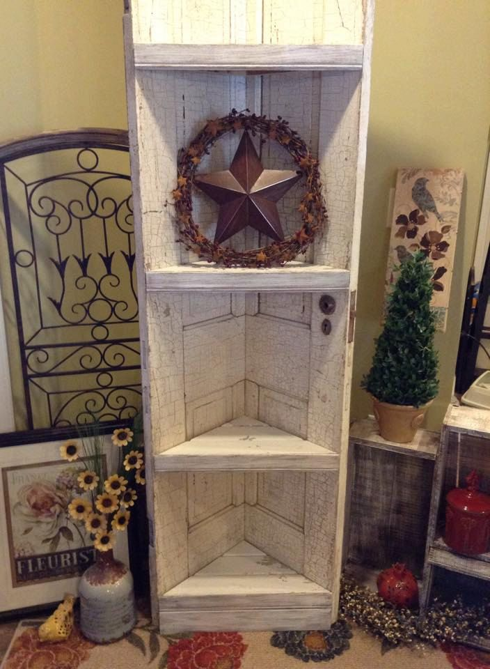 Reclaimed old door corner shelf by TheTatteredPallet