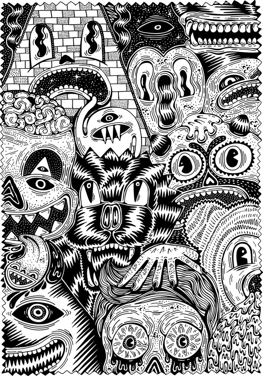 Free coloring page coloring-for-adult-7. Warning scary coloring ! Or ...