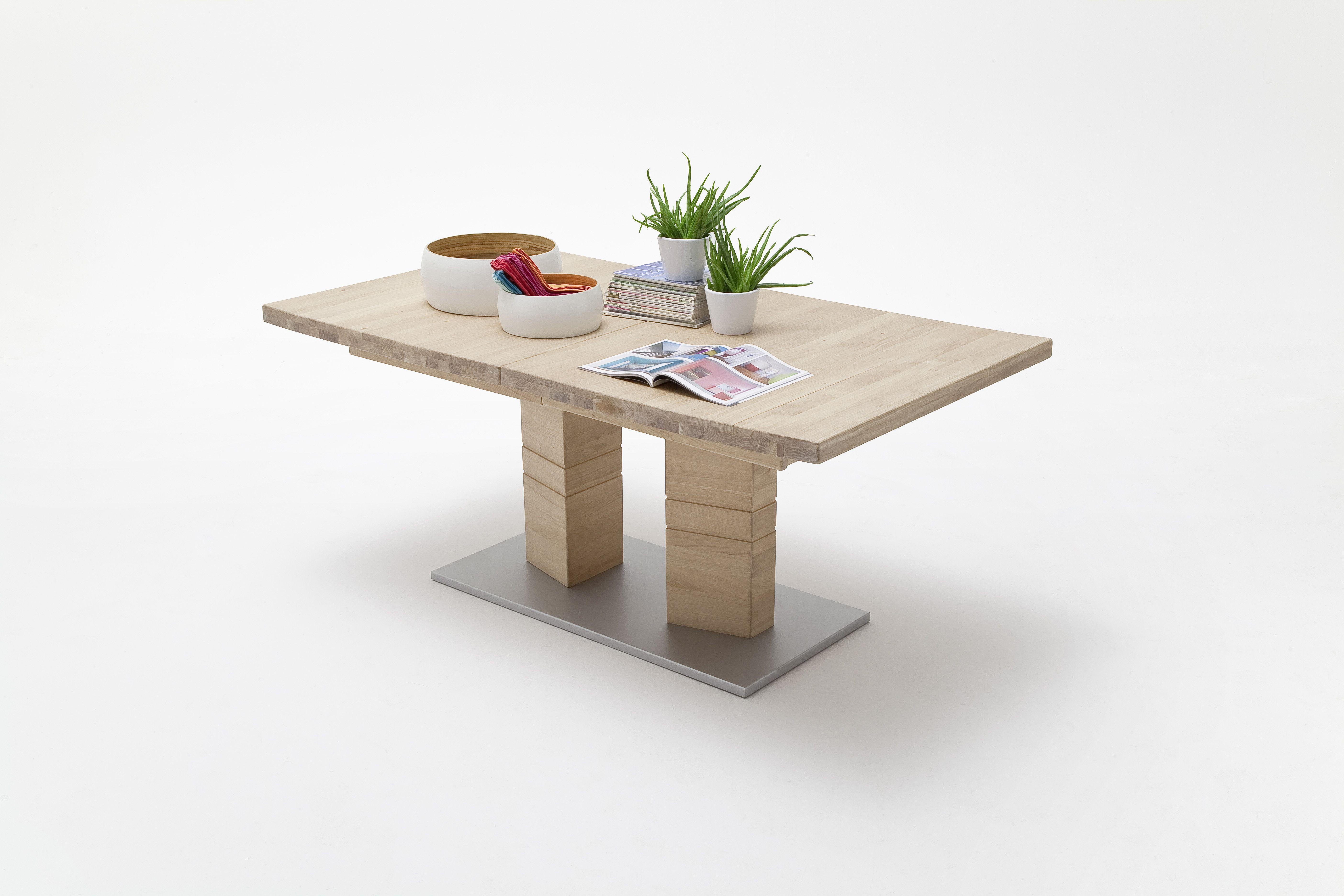 Esszimmer Tische Ausziehbar esstisch 180 x 100 cm eiche bianco massiv geölt ausziehbar auf 270