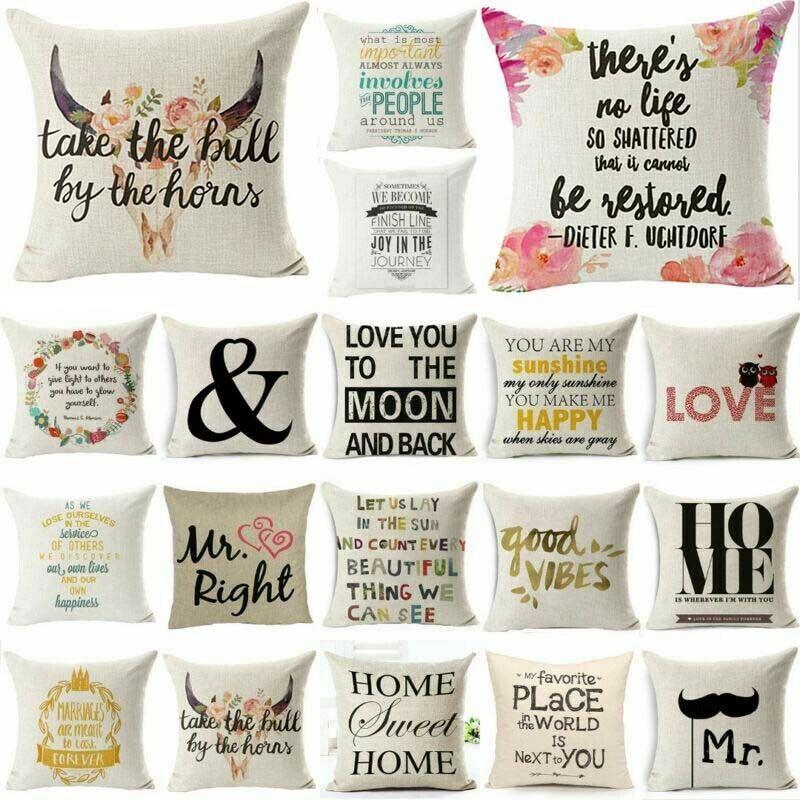"18/"" Funny Words Cushion Cover Pillow Case Cover Waist Throw Sofa Home Decor"