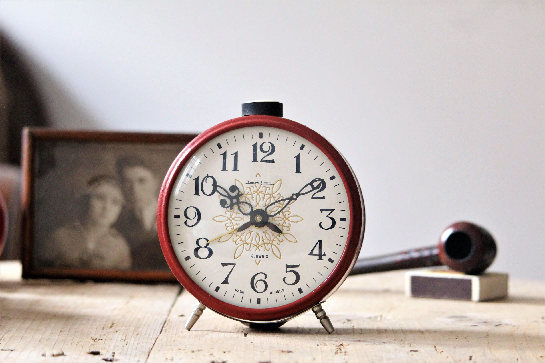 wind up clock red soviet clock bedroom clock vintage office clock alarm clock retro clock large bedside clock desk clock by narmag on etsy - Bedroom Clock