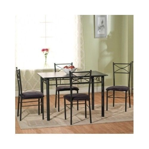 5 piece dining room set black upholstered chair table wood metal rh pinterest ca