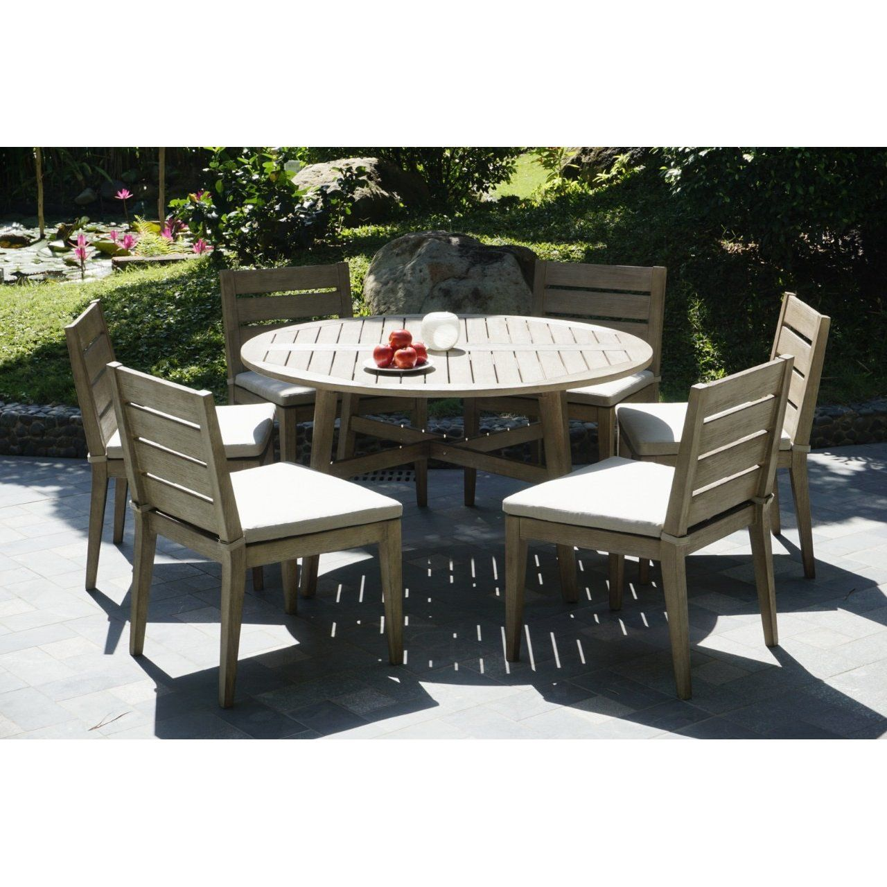 Weathered Gray Eucalyptus Wood Patio Dining Set Round Glades Patio Dining Set Outdoor Patio Table Patio Table Set
