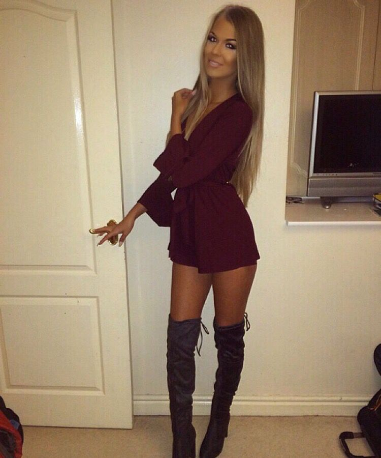 Summer dress knee high boots xx