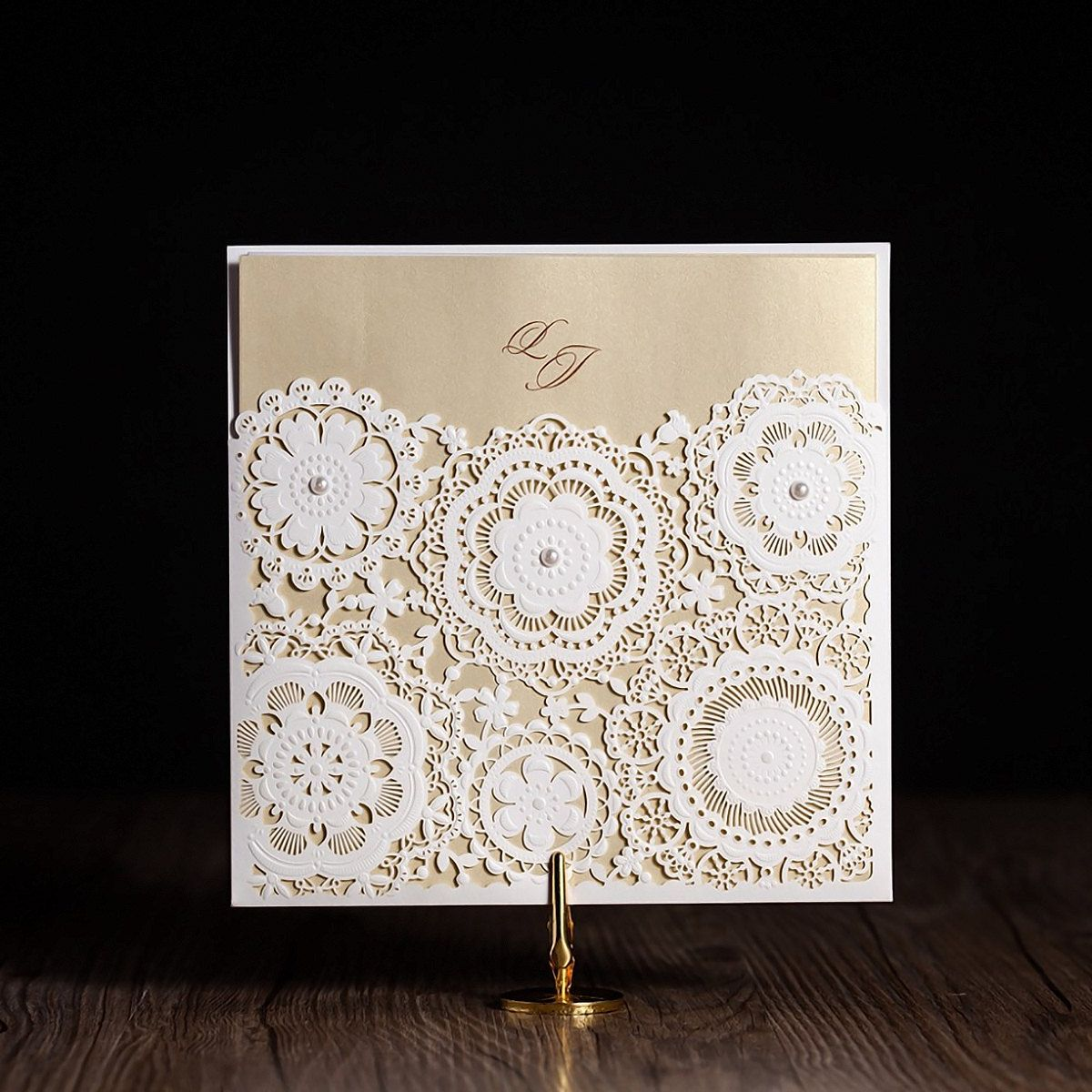25 x Champagne Gold Flower Wedding Invitation