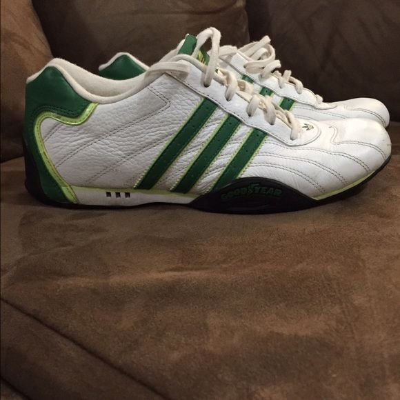 Adidas 'Goodyear' Ladies 6. White with green stripes. Used, does have scuffs on toes. Still in good condition. Adidas Shoes