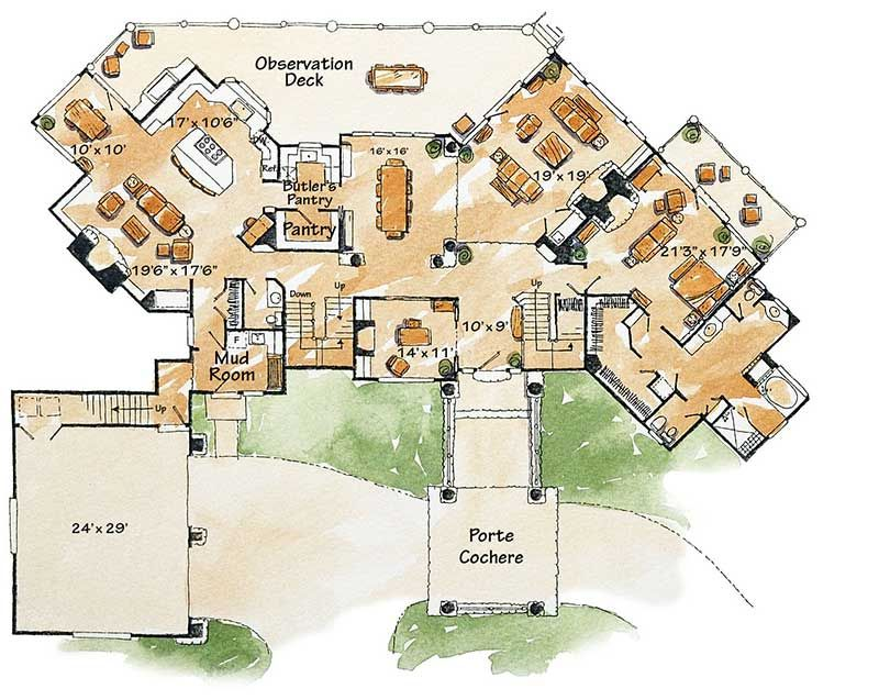 Plan 11583kn 6 Bed Mountain Lodge Home Plan With Finished Lower Level In 2020 How To Plan House Plans Architectural Design House Plans