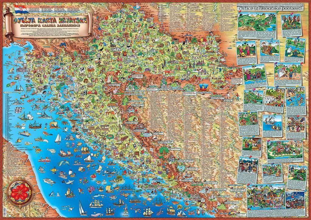 Hrvatska Karta Djecja Karta Hrvatske Djecja Mapa Hrvatske Dino S