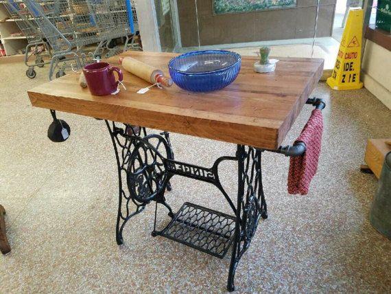custom made kitchen island with singer treddle machine base and rh pinterest com
