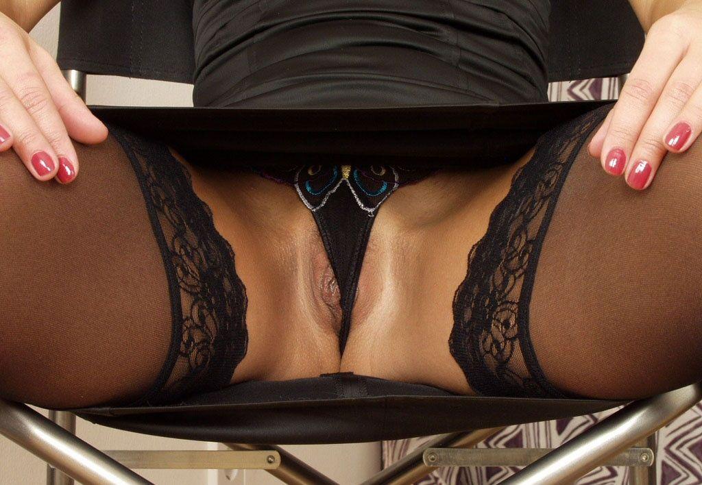 Black pantie upskirt