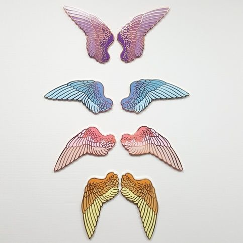 "Each wing is 2-1/2"" wide, hard enamel with two pin posts. Pink and purple wings are plated with rose gold. Blue and yellow sets are plated with yellow gold metal. Pin Quality Policy Update March 25, 2017 Collector's Grade: Best for pin collectors! Guaranteed free of air bubbles, stray ..."