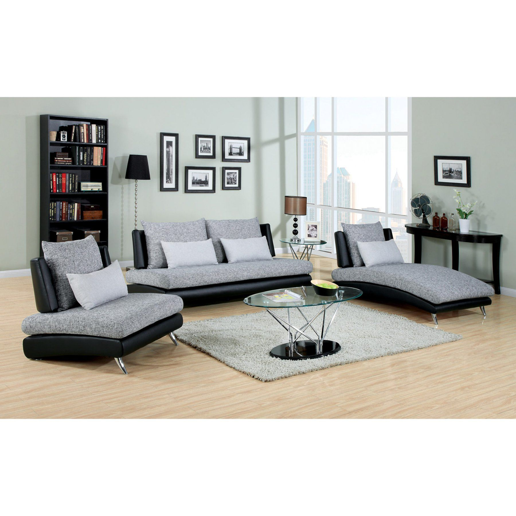 black leather living room furniture sets%0A Furniture of America Cole  Piece Fabric and Faux Leather Sofa Set  Gray