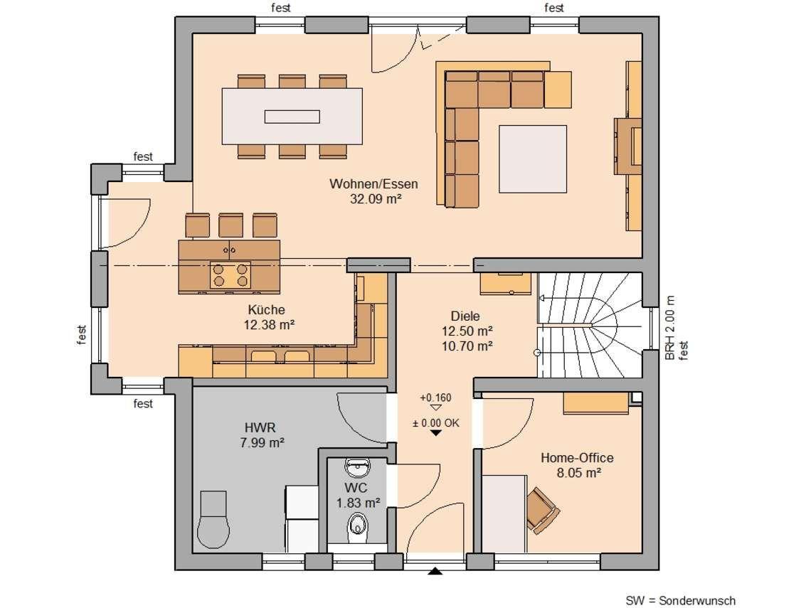 Afbeeldingsresultaat voor grundriss haus küche mit kochinsel | Floor ...