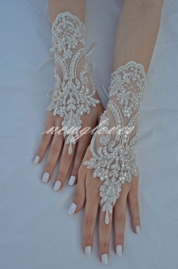 silver beaded lace Wedding fingerless lace gloves gloves ...