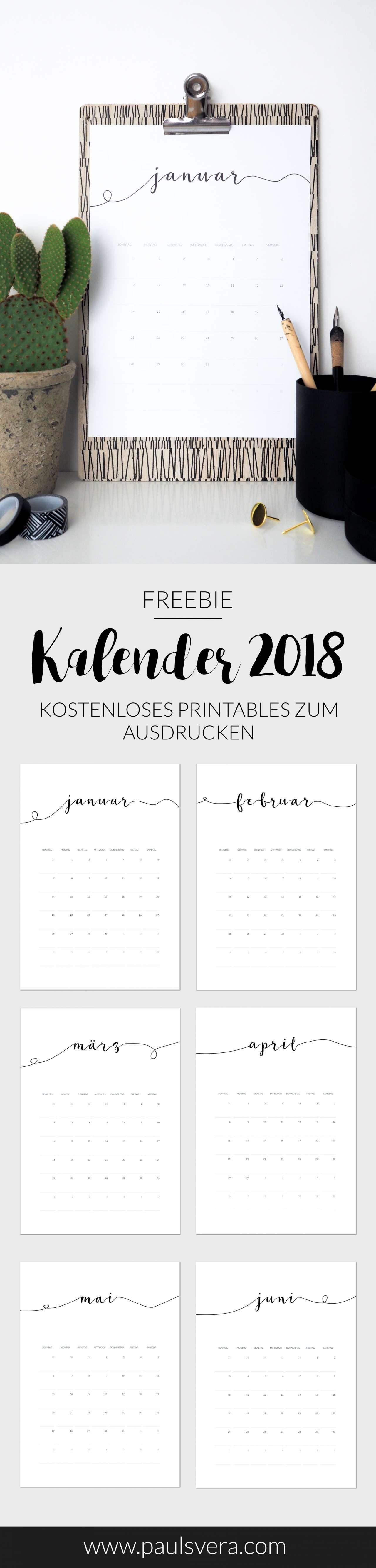 freebie kalender 2018 als kostenloses printables pretty. Black Bedroom Furniture Sets. Home Design Ideas