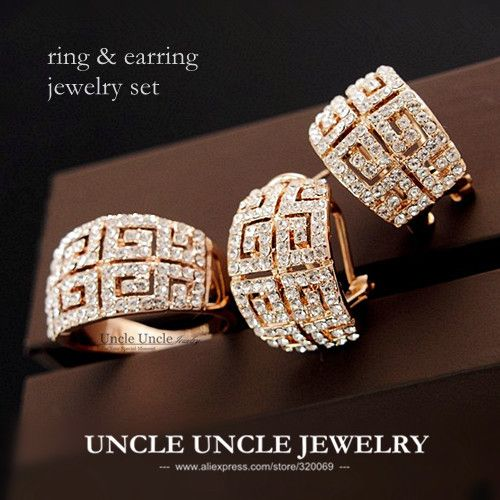 Beautiful Luxury Woman Jewelry Set Rose Gold Plated Brand Retro Rome