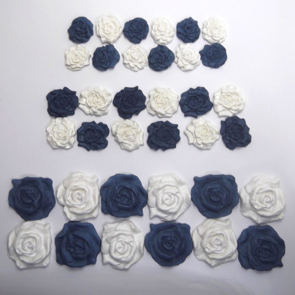 36 White Roses edible wedding cake cupcake decorations sugar flowers 25//30//45mm