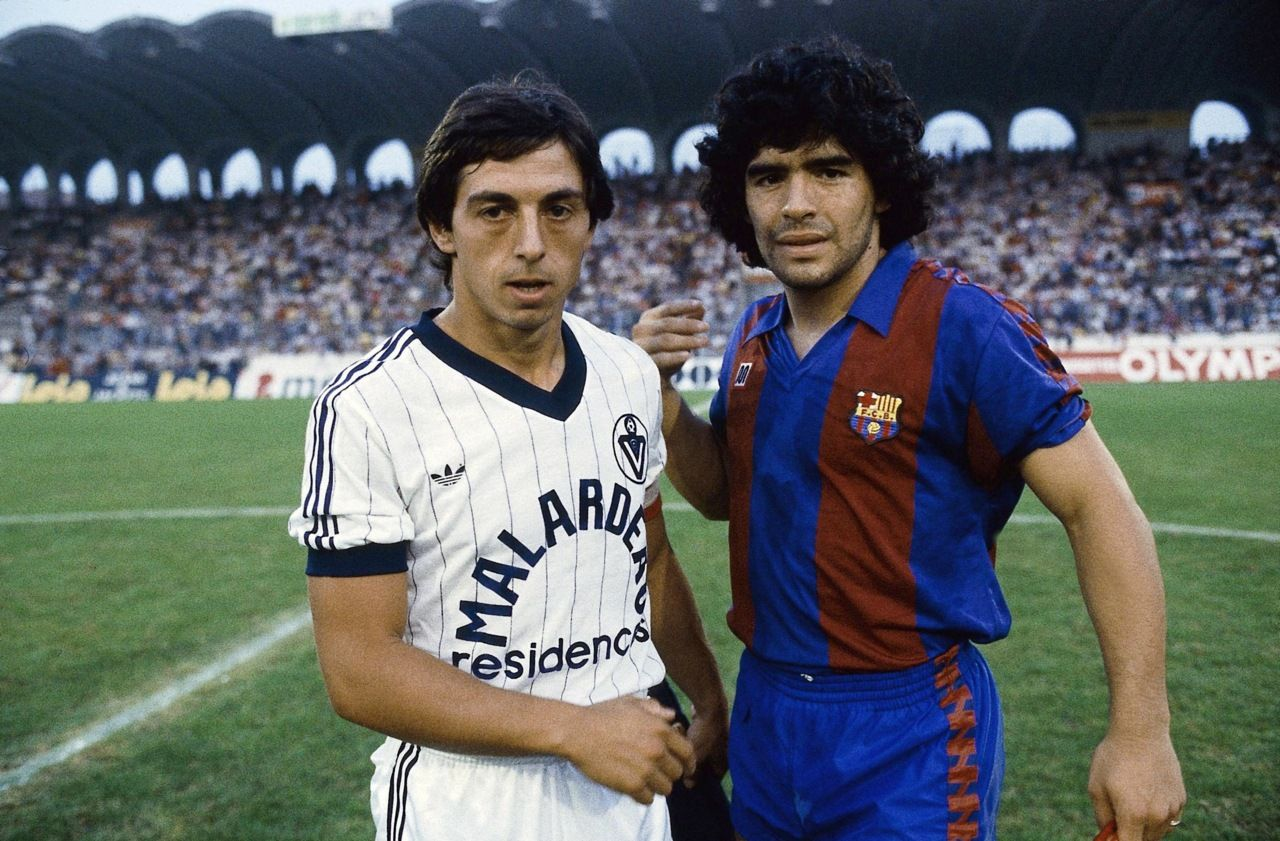 Alain Giresse and Diego Maradona before a friendly between ...