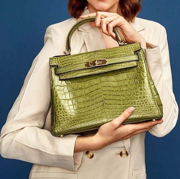 Photo of Genuine Alligator Leather Padlock Shoulder Handbag