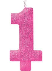 Giant Glitter Pink Number 1 Birthday Candle Party City