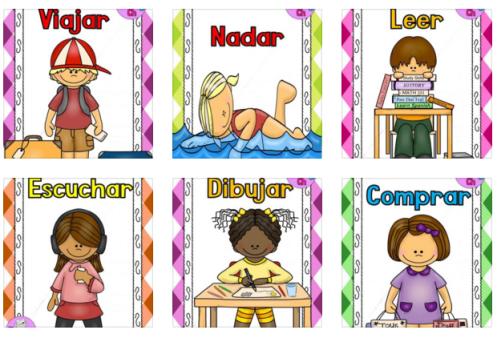 Divertidas Laminas Para Trabajar Los Verbos Orientacion Andujar Verbos Dibujo De Escuela Educacion Espanol