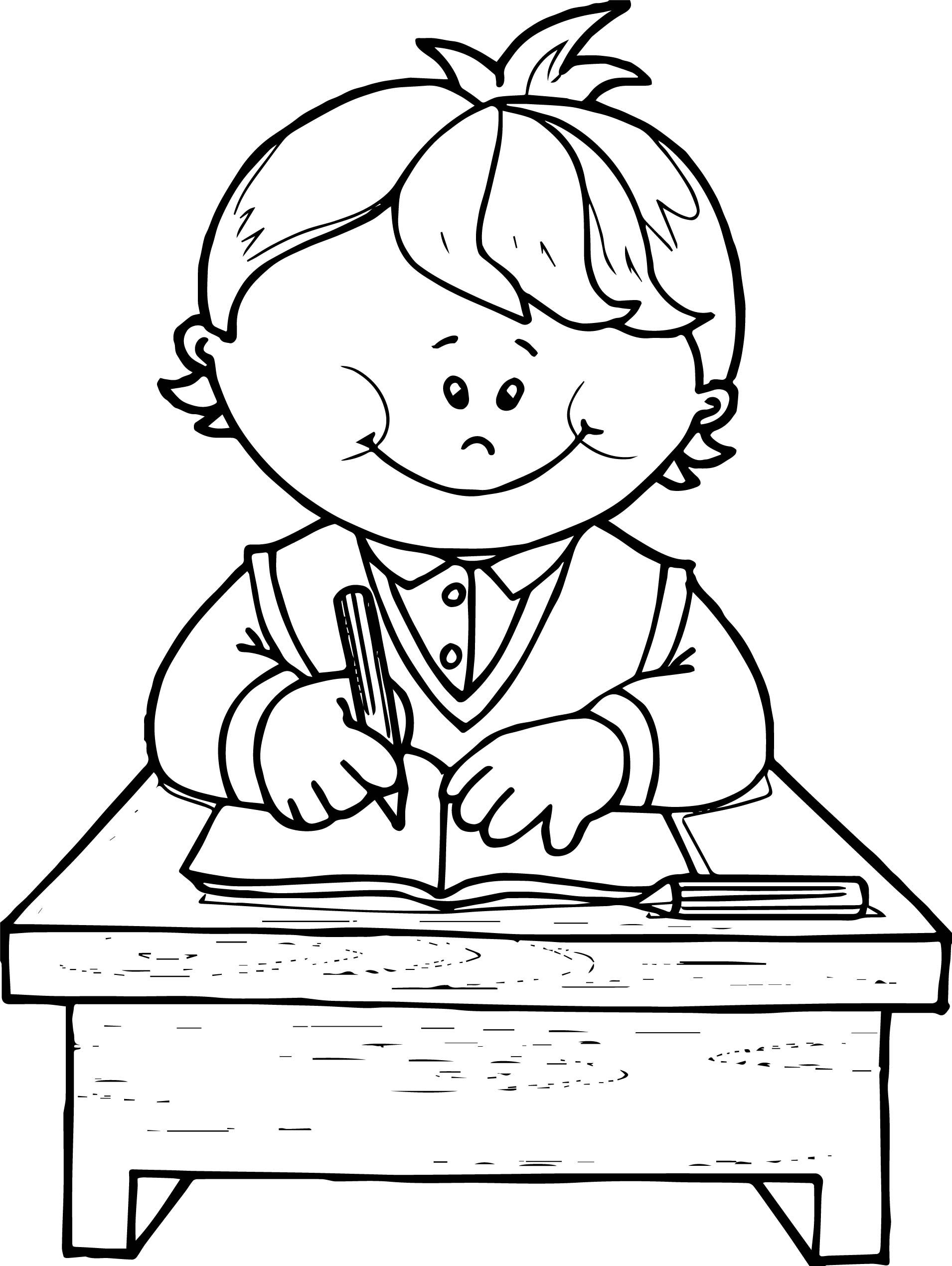 School Boy Write Coloring Page