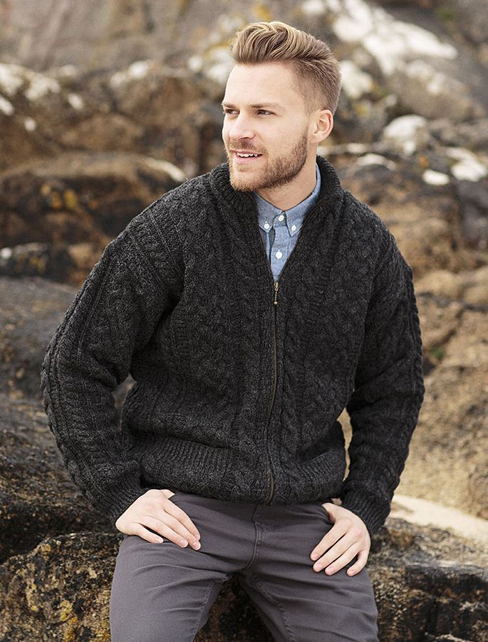 View our high quality range of Aran Sweaters & Cardigans for men. Direct from Ireland - Low cost, fast international and local shipping.