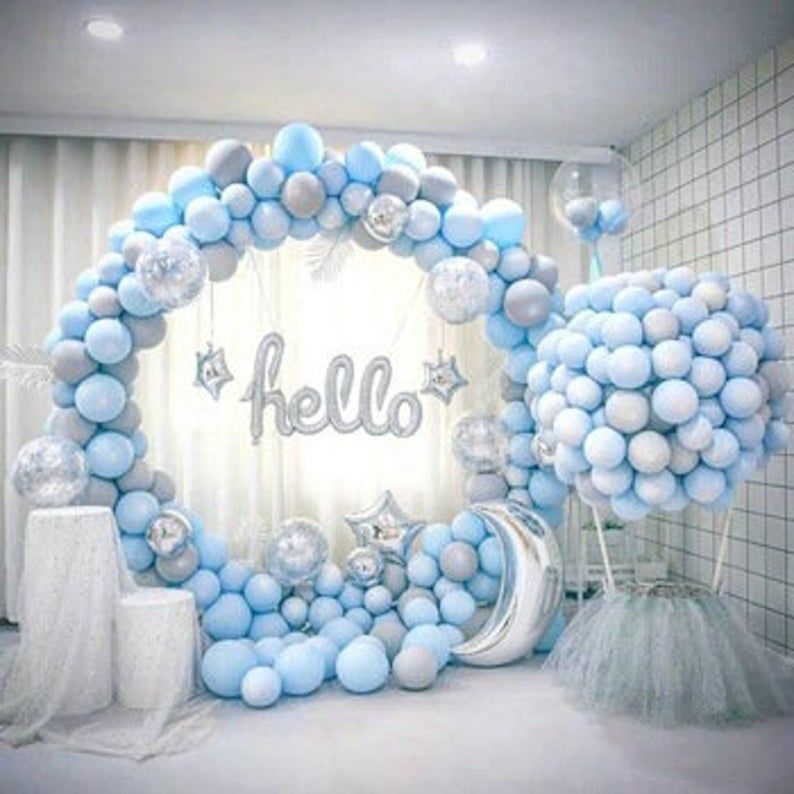 150pcs Diy Balloon Garland Kit Blue Gray Balloon Arch Balloon Garland Reception Party Celebration Decor Birthday In 2020 Baby Shower Decorations Baby Shower Balloons Creative Baby Shower Themes