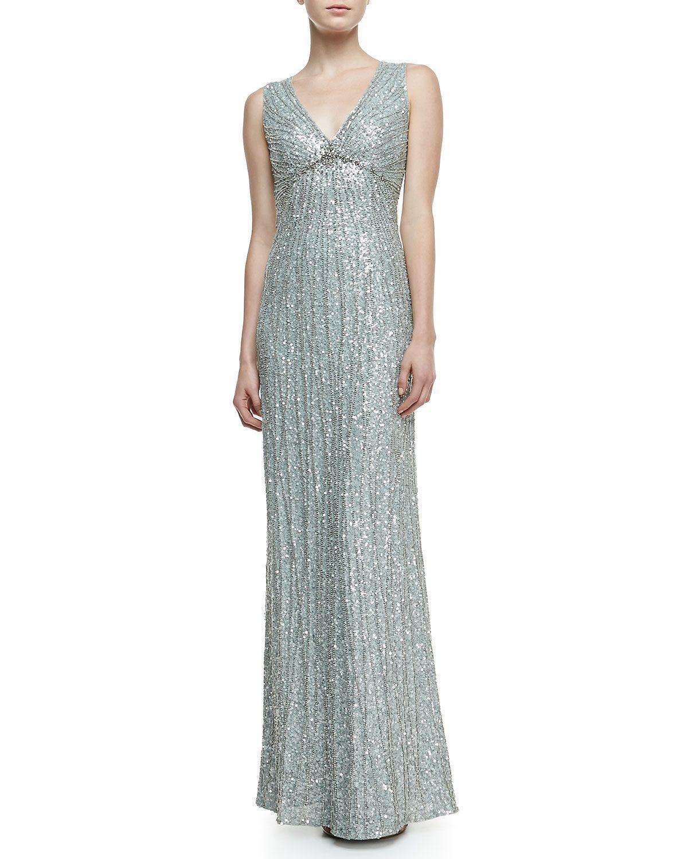 Jenny Packham V-Neck Shimmery Beaded Gown, Chalk Blue - Neiman ...