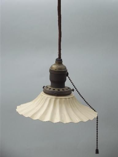 Antique 1910 Ceiling Fixture Pendant Light Crimped Fluted