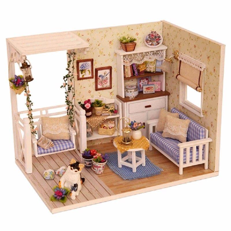 cutroom 1 32dollhouse miniature diy kit with cover led light cat rh pinterest cl