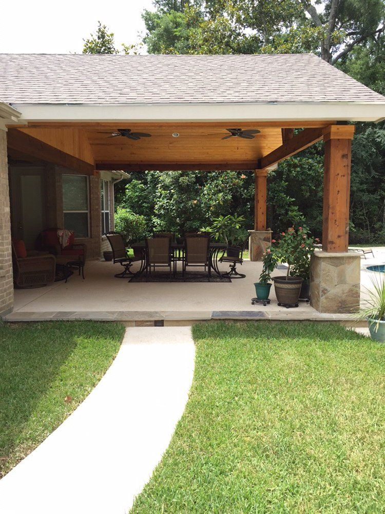 Backyard paradise magnolia tx united states gable for Patio layouts and designs