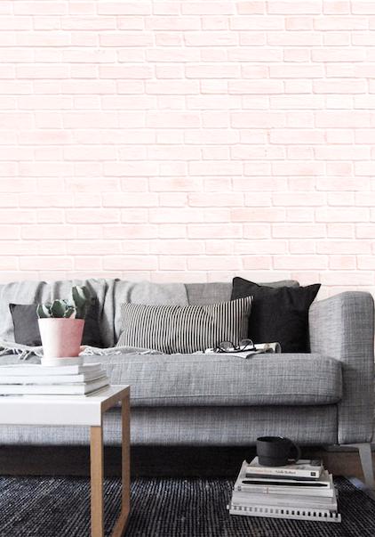 feminine blush and grey lounge featuring industrial style pink brick rh pinterest com