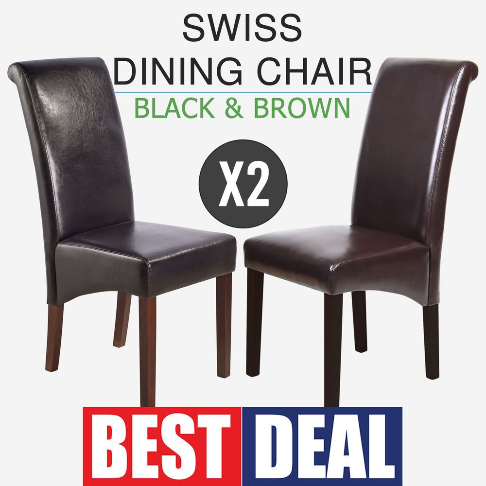 dining chairs 2x faux leather black brown high curved back rest rh pinterest com