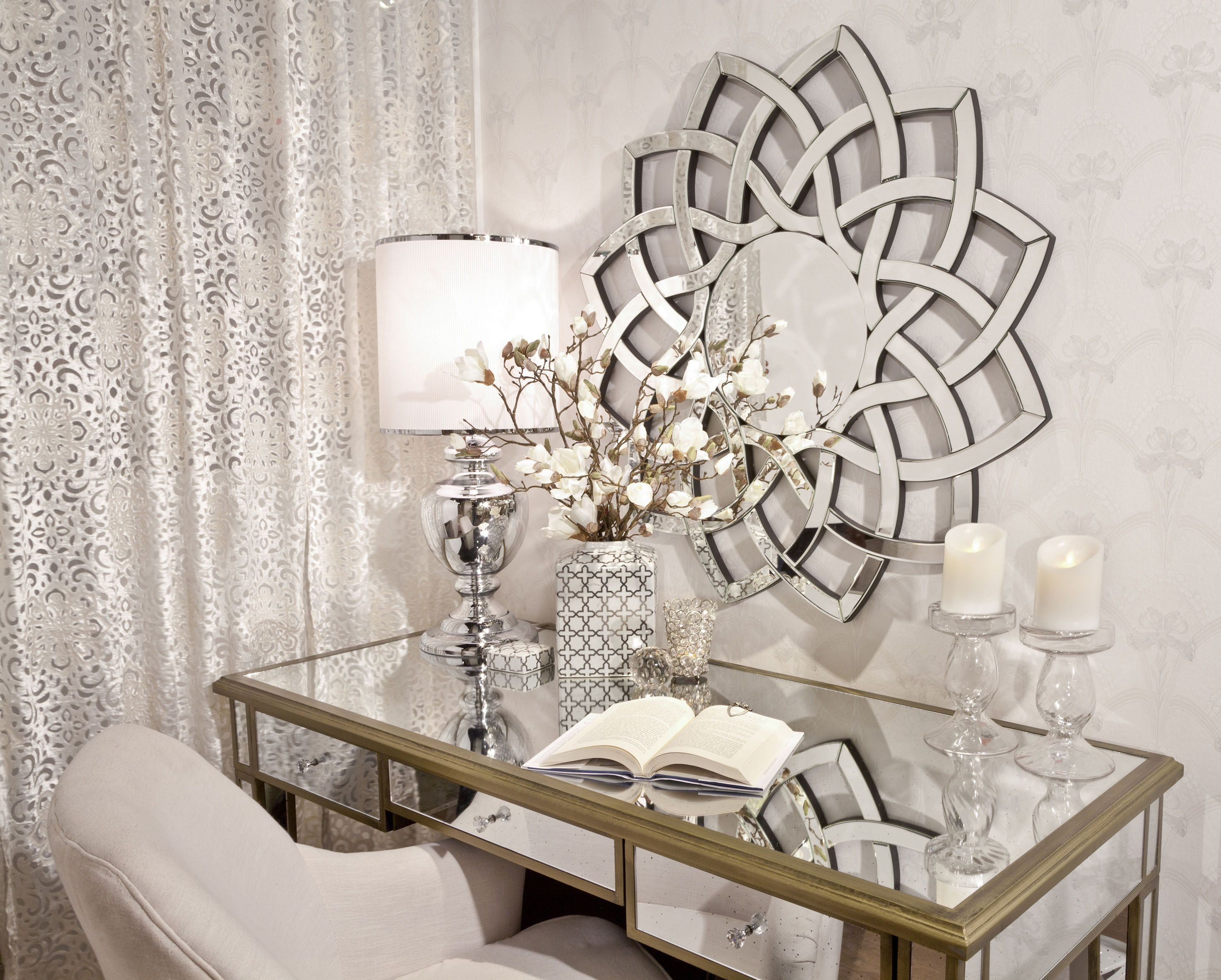 Bedroom Opulent Antique mirrored dressing table