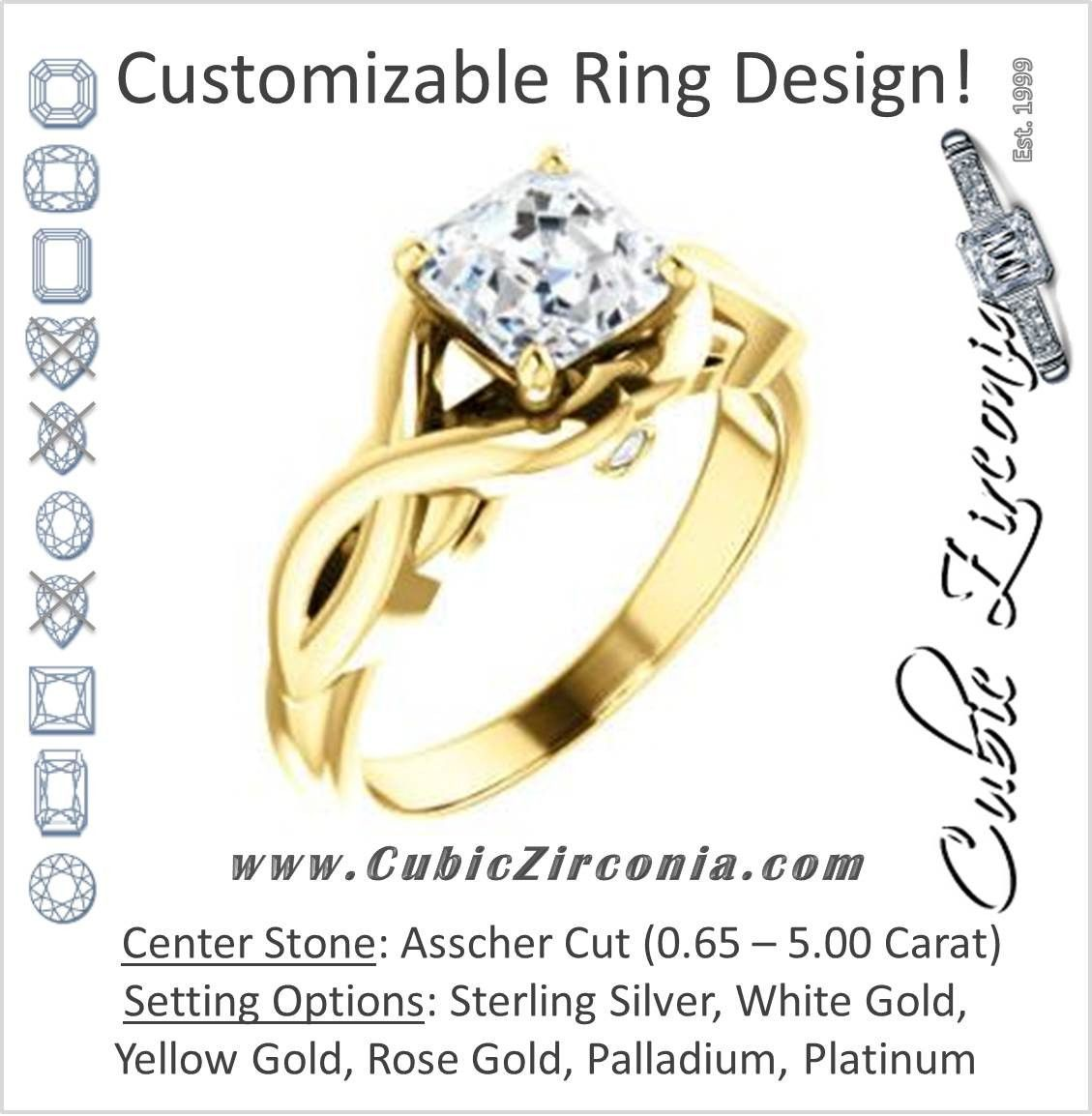 Cubic Zirconia Engagement Ring- The Lakshmi (Customizable Cathedral-set Asscher Cut Style with Twisting Split Band & Peekaboo Accents)