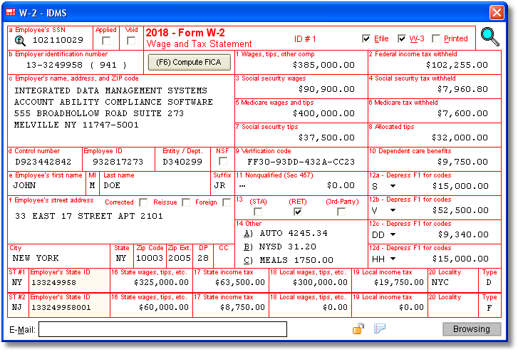 W2 Software Irs Forms Employer Identification Number Federal