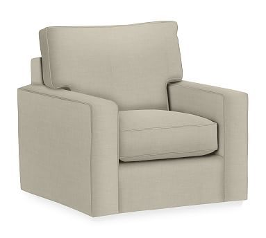 PB Comfort Square Arm Upholstered Swivel Armchair, Box Edge Polyester Wrapped Cushions, Premium Performance Basketweave Oatmeal