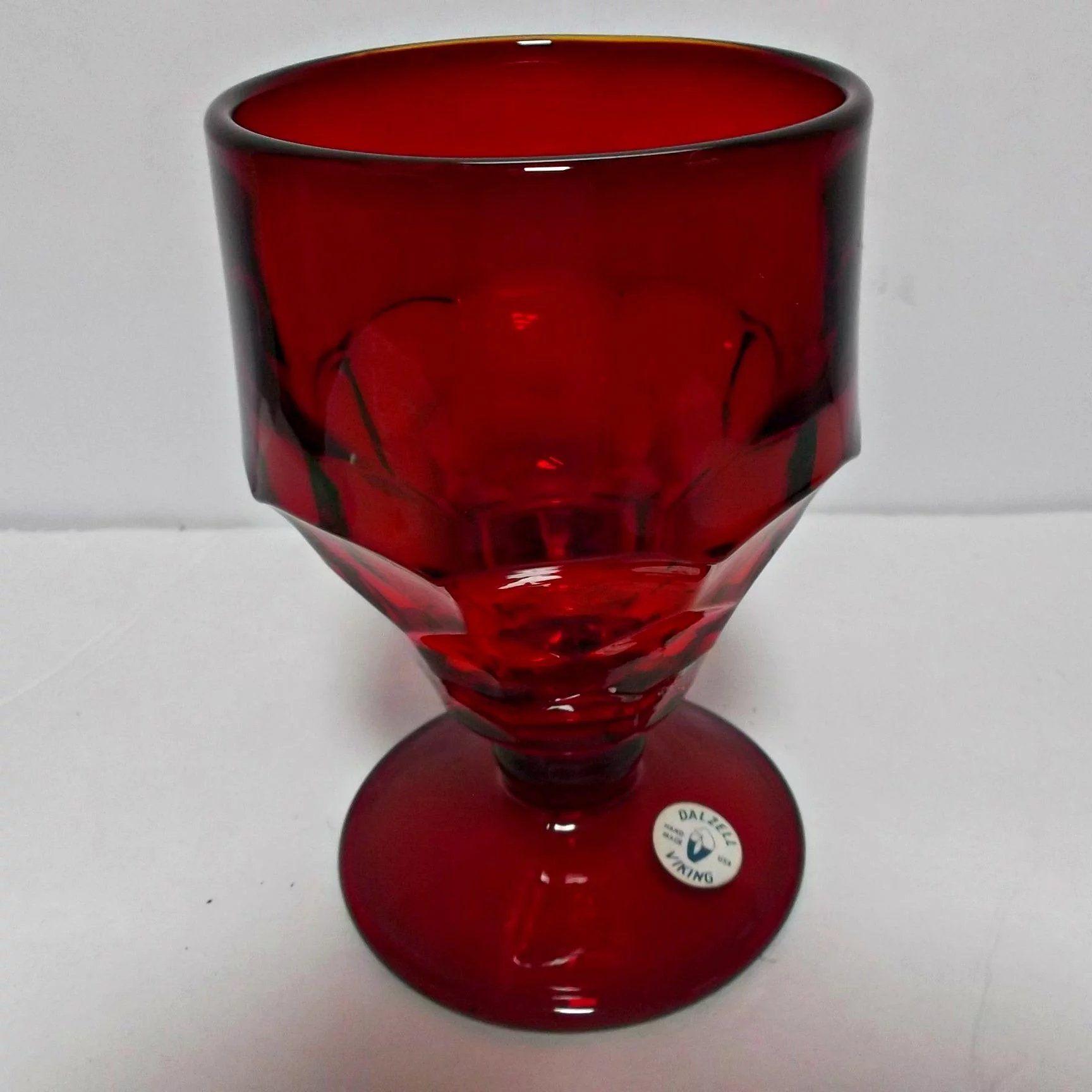 Vintage Dalzell Viking Glass Red Tumbler Hand Made Honeycomb Viking Glass Vintage Art Glass Vintage Dinnerware