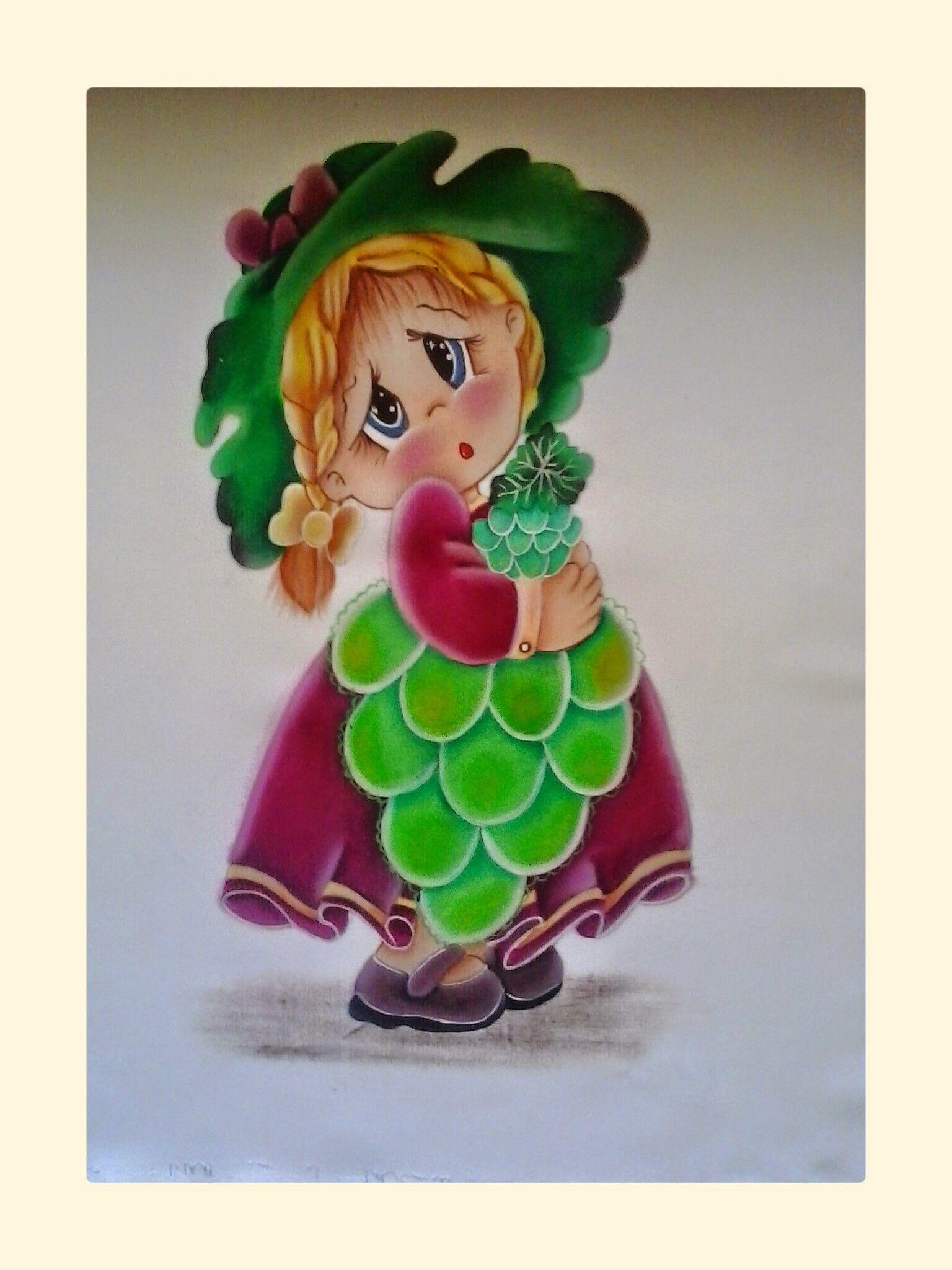 niña uva | Piedras pintadas | Pinterest | Uvas, Pintura en tela y ...