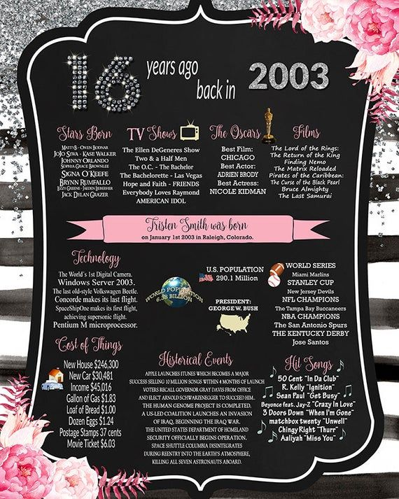 Sweet Sixteen Black & White 2003 BIRTHDAY CHALKBOARD, Customized 16 years ago in 2003, 16th birthday, Watercolor Pink Flowers Design, Silver