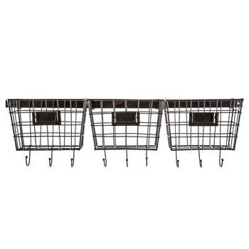 Metal Wall Baskets With Hooks Baskets On Wall Metal Wall Basket Wire Basket Shelves