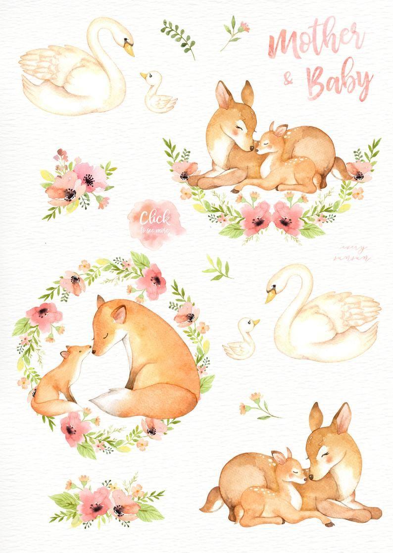 Mother Baby Watercolor Clip Art Woodland Animals Kids Etsy In 2021 Animal Clipart Watercolor Animals Baby Clip Art