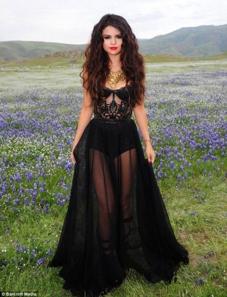 Dress Selena Gomez Sheer Corset Top Little Black Dress Maxi Dress