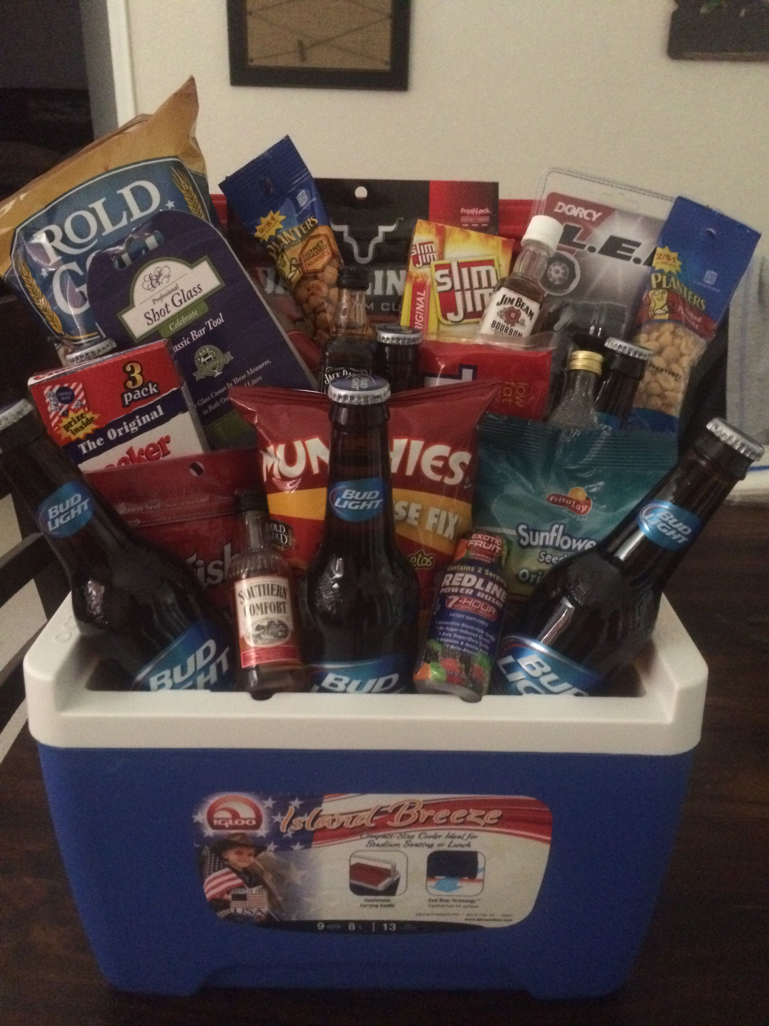 Fundraiser Gift Basket Ice Chest beer trail mix beef jerky