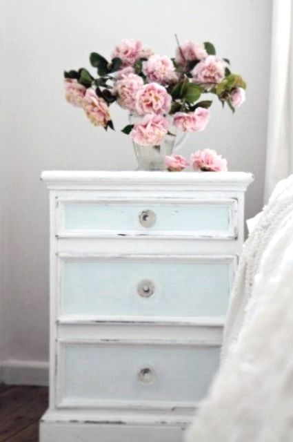 Shabby Chic Light Blue Nightstand With Drawers Looks Very Delicate Shabby Chic Dresser Chic Bedroom Shabby Chic Bedroom