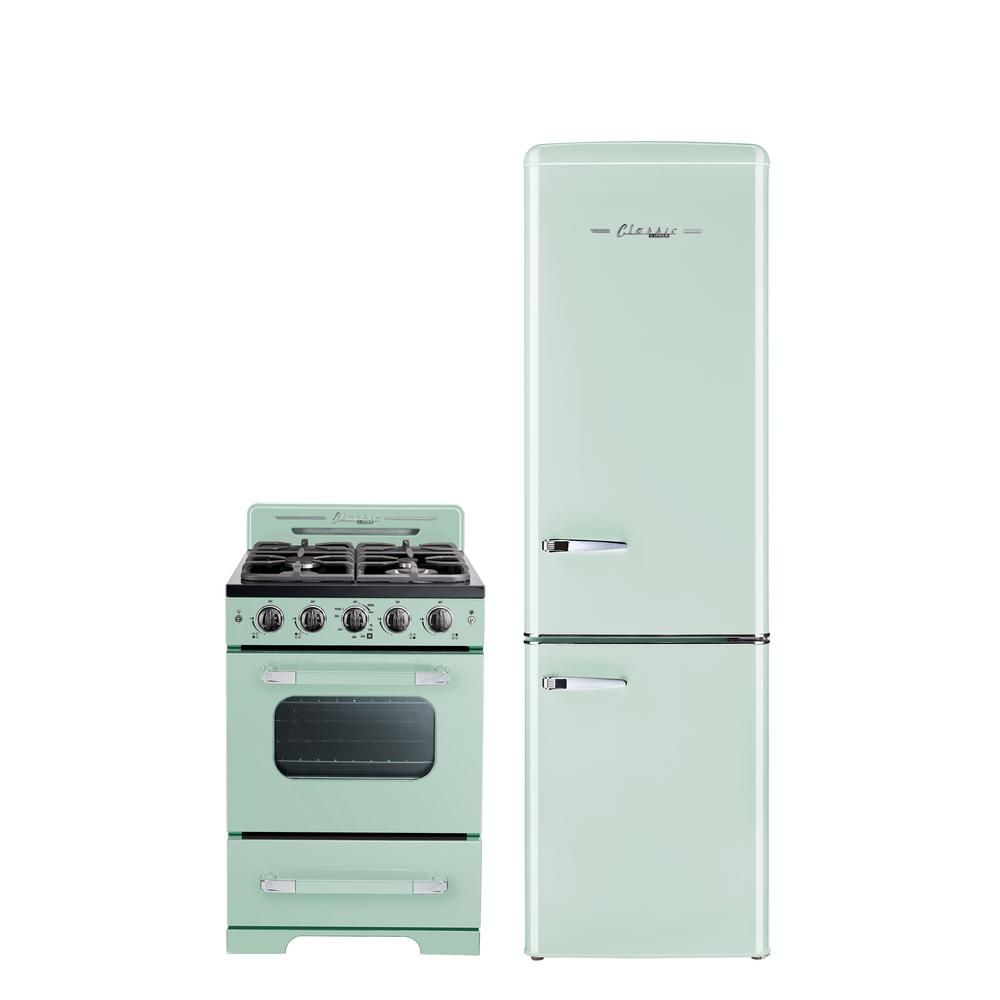 Unique Classic Retro 24 In 2 9 Cu Ft Gas Range With Convection Oven In Summer Mint Green Ugp 24cr Lg The Home Depot In 2020 Retro Kitchen Appliances Unique Appliances Vintage Stoves