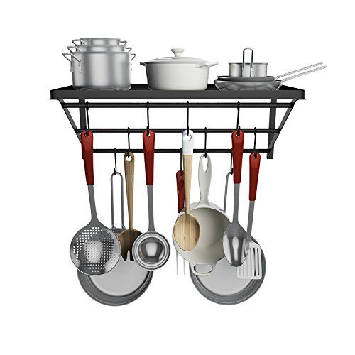 Homevol Kitchen Wall Mounted Pot Rack with 10 Hooks Multi-Functional