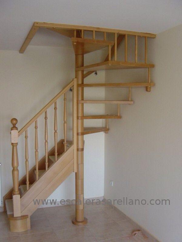 Escalera semicaracol escaleras en 2019 escaleras de for Silla escalera de madera